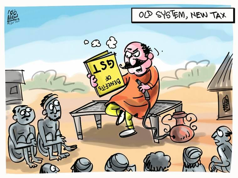 mika cartoon, gst, one tax one nation, indian express