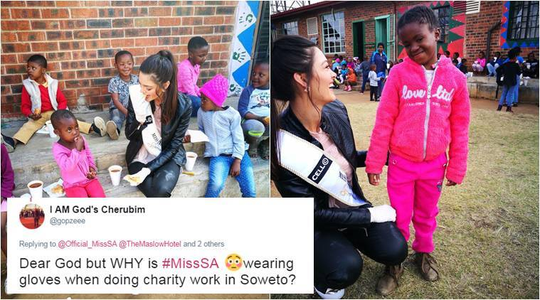 miss south africa,  Demi-Leigh Nel-Peters,  Demi-Leigh Nel-Peters gloves controversy, miss sa gloves, miss sa wear gloves to meet black kids, miss couth africa racist controversy, world news, fashion news, latest news