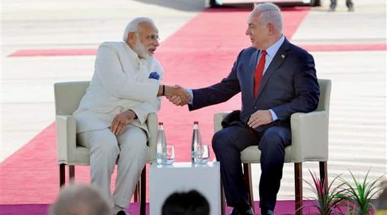 modi in israel, pm modi in israel, israel-india, benjamin netanyahu, tel aviv airport, modi-netanyahu, india-israel relations, modi Holocaust memorial, india news, indian express