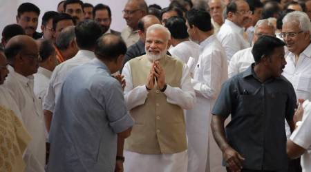 PM Modi greets opposition leaders on the opening day of monsoon session