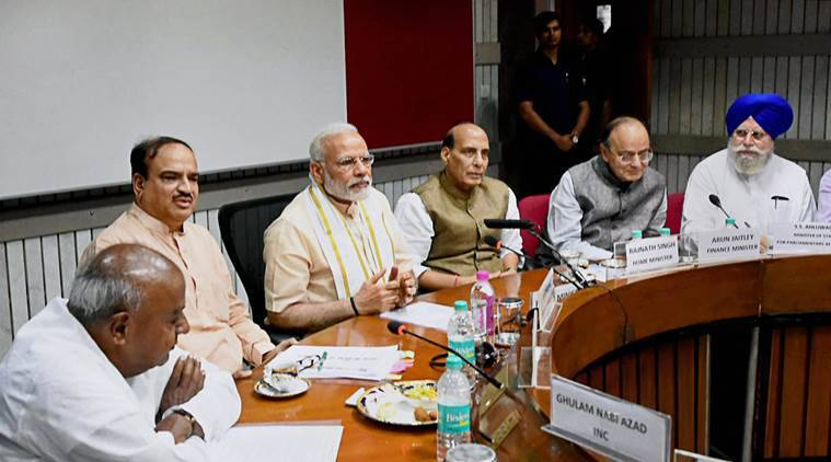 PM Narendra Modi an all-party meeting ahead of monsoon session of Parliament in New Delhi on Sunday. PTI