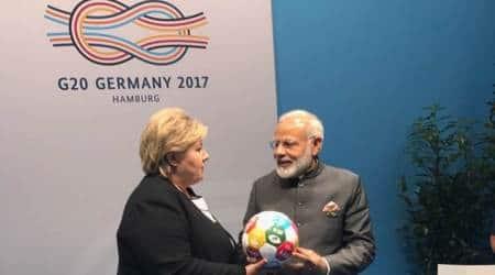 G-20 summit: Norway PM Erna Solberg gifts PM Modi a symbolicfootball