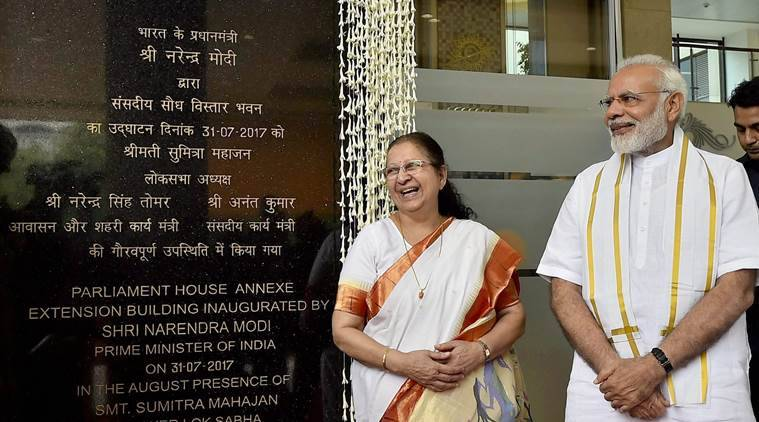 pm modi, new parliament building, parliament house annexe building, sumitra mahajan, indian express