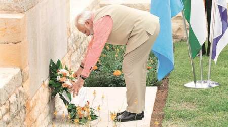 PM Narendra Modi pays tribute to soldiers who died in Haifa