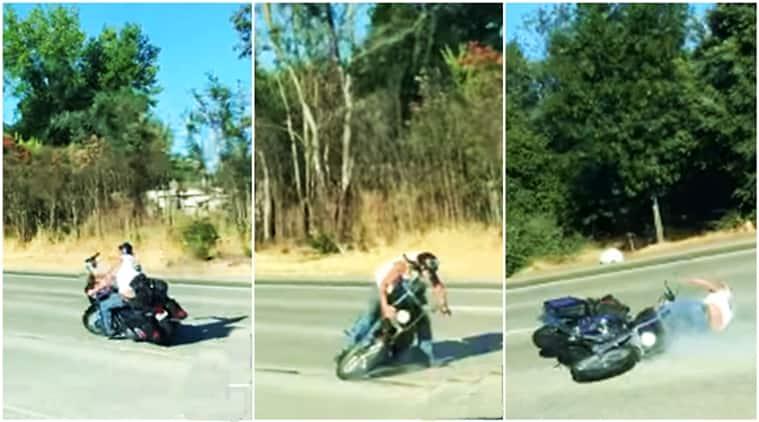 motorcycle, bike crash, biker falls off, motorcycle crash, bike road rash, road rash, indian express, indian express news