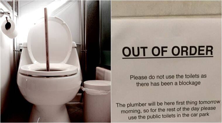 toilet, toilet out of order, office toilet notice, bizarre office notice, funny office notice, funny office notice, odd news, weird news, viral news, indian express