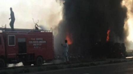 Oil tanker catches fire in Pakistan's Nawabshah