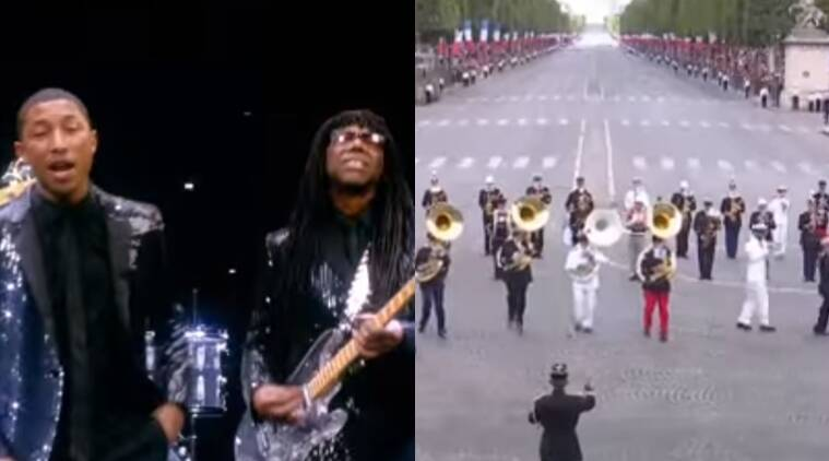 bastille day paarde, donald trump, emmanuel macron, french military band play daft punk, indian express, indian express news