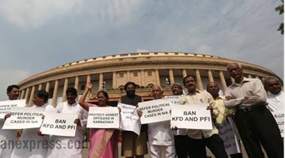 monsoon session, parliament, monsoon session day 1, mayawati resign, Protest out side Parliament, Mayawati quits Parliament, Mayawati quits Rajya Sabha, L K Advani, Narendra Modi, Arun Jaitley, Sushma Swaraj, Indian Express, India news, National news