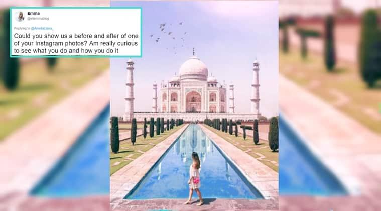 travel blogger, amelia liana, travel blogger photoshopped photos, travel blogger fake photos, travel blogger photoshop taj mahal, indian express, indian express news