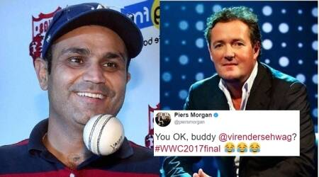 icc women's world cup 2017, mithali raj women's world cup cricket, piers morgan virender sehwag, virender sehwag twitter, piers morgan tweets to virender sehwag, virender sehwag replied to piers morgabn, indian express, indian express news