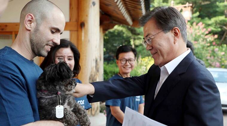 South Korea, south korea president, Moon Jae-in, south korea's president adopted dog, dog adoption, shelter dog adoption, good news, world news, Indian Express, Indian Express News