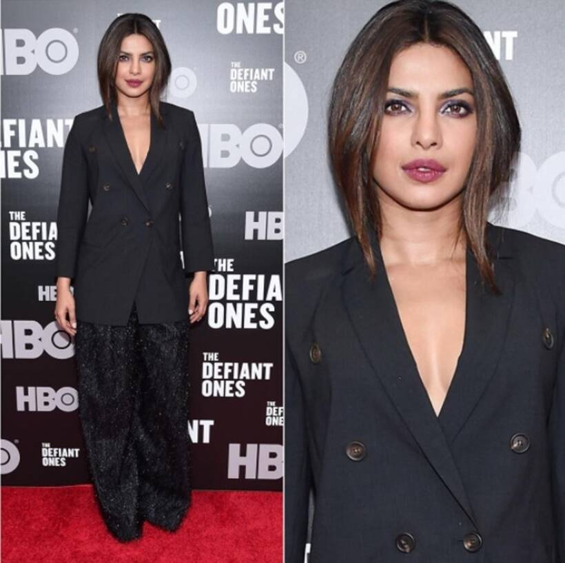 96862efd14 Hit and miss: At the New York premiere of HBO's The Defiant Ones, Priyanka  Chopra opted for a bold and unconventional choice of attire.