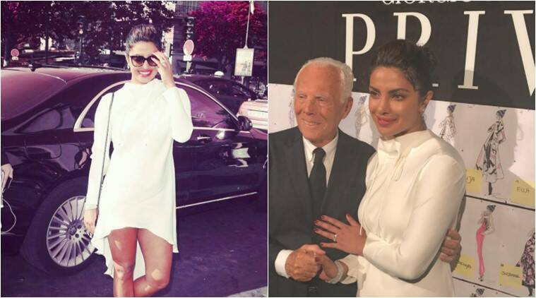 priyanka chopra, priyanka chopra paris fashion week, paris fashion week 2017, paris fashion week armani prive, paris fashion week priyanka georgio armani, paris fashion week georgio armani prive couture, indian express, indian express news