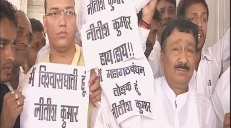 RJD MLAs protest against Nitish Kumar outside Bihar assembly