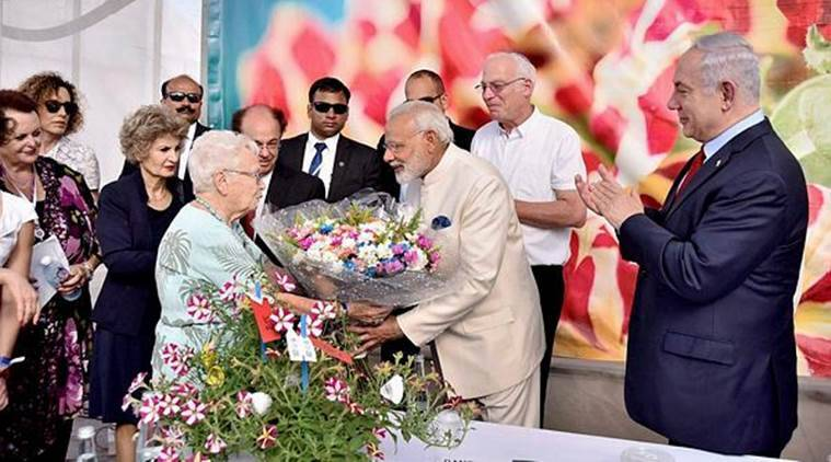Modi in Israel, Narendra Modi, flower named after Modi, Modi flower, Modi Crysanthumun, Israel, India news, Israel news, Indian Express