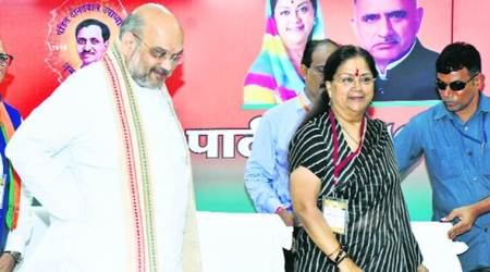 Shah praises Raje, calls for focus on BJP's grassroots-level growth