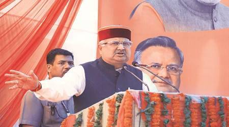 Half of Cong leaders on bail, half in jail: Raman Singh at BJP rally