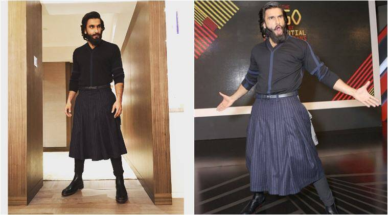 ranveer singh, ranveer singh skirt, ranveer singh quirky dress, ranveer singh unique fashion sence, gq awatd ranveer singh, fashion news, lifestyle news, entertainment news, indian express