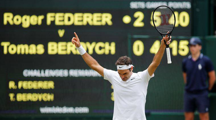 Roger Federer, Wimbledon 2017 final, Tomas Berdych, Tennis, Indian Express, mens singles final, Sports, Tennis News