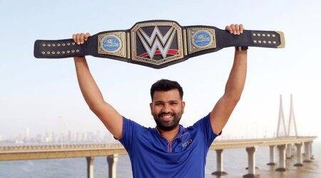 Rohit Sharma receives customised WWE belt for IPL champions Mumbai Indians