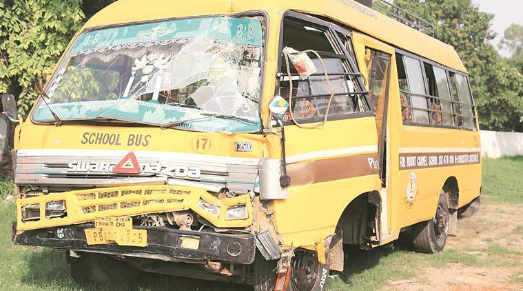 Hallomajra school bus accident, Untrained driver accident, school bus accident, indian express, India news, latest news