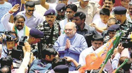 At Delhi stop, Amit Shah takes aim at 'dynastic' Congress