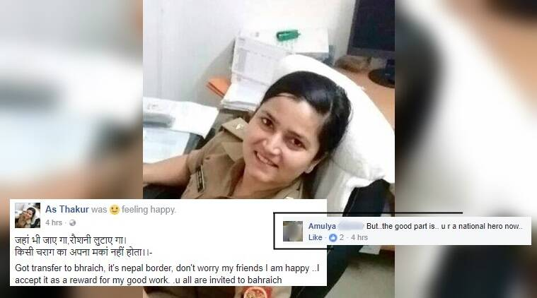 shrestha thakur, up lady cop shrestha thakur, up lady cop shrestha thakur transferred, up lady cop shrestha thakur facebook post, shrestha thakur facebook post, indian express, indian express news