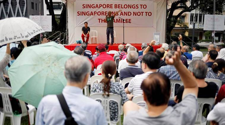 singapore, speakers corner, protest, singapore pm, lee hsien loong, lee kuan yew, southeast asia news, indian express
