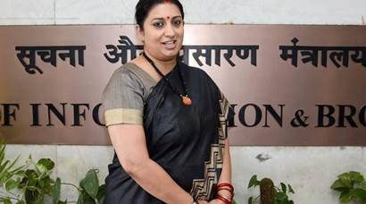 Textiles Minister Smriti Irani gets additional charge of Information and Broadcasting Ministry