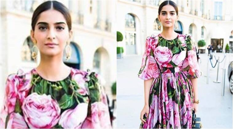 sonam kapoor, sonam kapoor in a dolce and gabbana floral dress, paris couture week, ralph and russo, indian express, indian express news