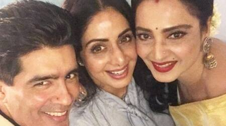 MOM screening: Rekha supports Sridevi, and we are too happy to see the two divas in one frame. See photos