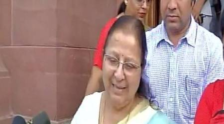 Deeply hurt by conduct of Congress MPs, says Lok Sabha Speaker Sumitra Mahajan