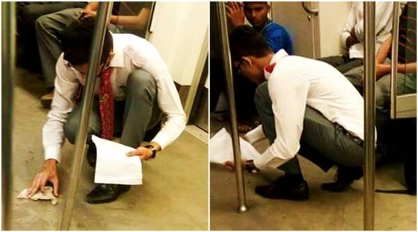 swachh bharat, cleanliness, clean india, metro cleanliness, metro swachh bharat, young boy clean metro, indian express, indian express news