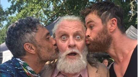 Thor Ragnarok actor Chris Hemsworth kisses onscreen father Anthony Hopkins