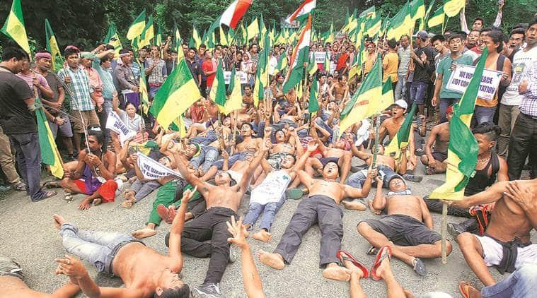 tripura, tripura naked protest, tripura ipft protest, twipraland, tripura tribal communities