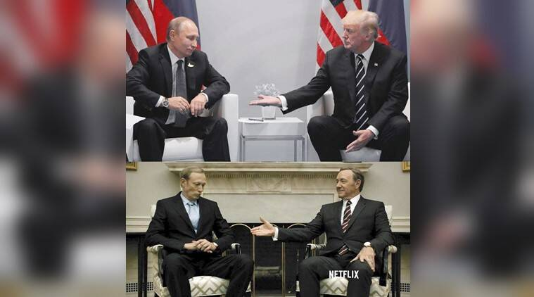 g20 summit, g20 summit memes, g20 summit trump putin, trump putin house of cards, trump putin g20 house of cards similar, donald trump house of cards handshake with putin viral, trump putin house of cards twitter reactions, india nexpress, indian express news
