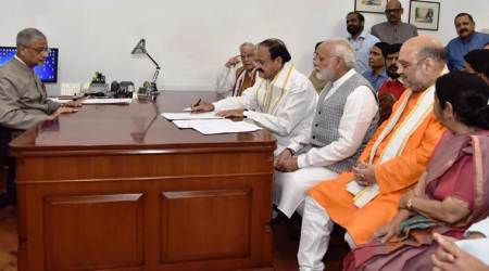Vice Presidential election: Venkaiah Naidu files nomination papers, says pained to leaveBJP