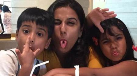 Vidya Balan is enjoying her break with niece and nephew after wrapping up Tumhari Sulu, see photos