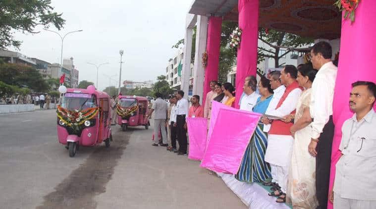pink auto service, surat pink auto service, women autorickshaw drivers, autos for women, women passengers auto, surat, Surat Municipal Corporation