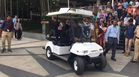 Infosys CEO Vishal Sikka rides to work in a driverless car