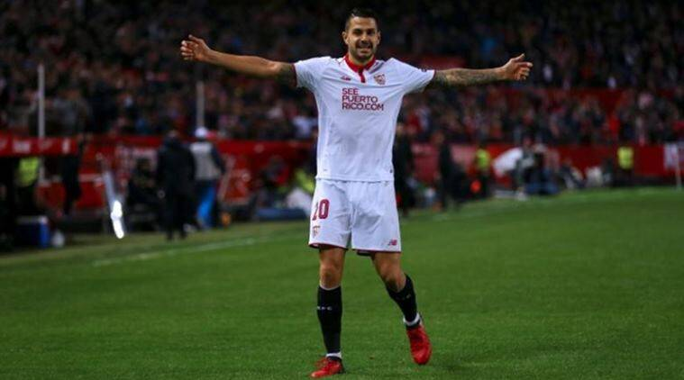 Vitolo, Atletico Madrid, Atletico Madrid tranfer window ban, Sevilla, Football news, Indian Express