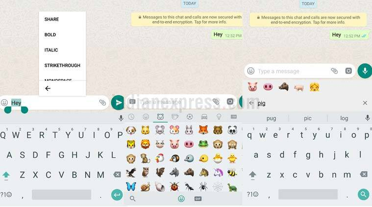 WhatsApp Android Emoji Search Bold Text Font