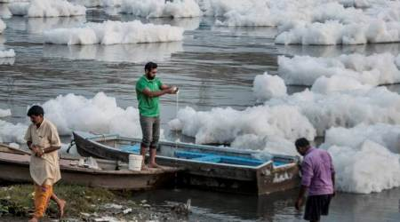 Activists float paper, thermocol boats to remind Nitin Gadkari of clean Yamuna promise