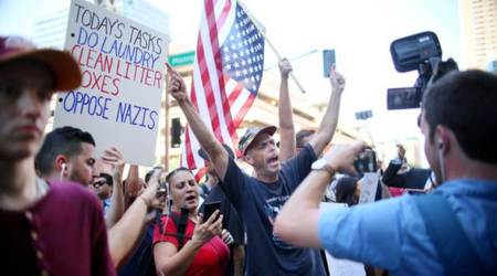 Protesters gather at Donald Trump's Phoenix rally, senators will not attend