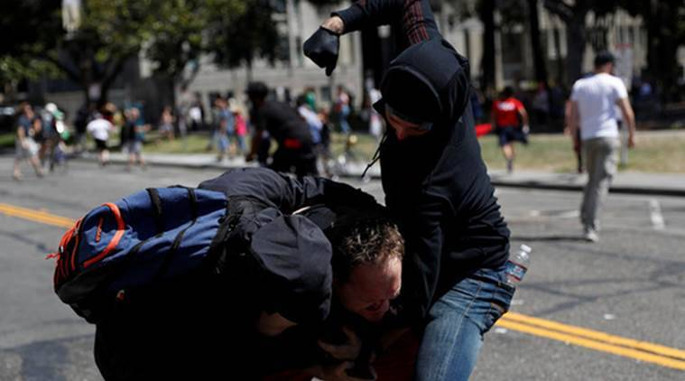 Berkeley rally, US Rally demonstration, US violence, white violence, Neo Nazi protetors, violent, Donald Trump, World News, Indian Express