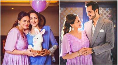 esha deol baby shower, bollywood baby showers, esha deol images, esha deol hema malini images