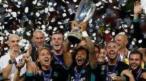 Real madrid, manchester united, real madrid vs manchester united, super cup, uefa super, cup, real madrid celebrate, football, sports news, indian express