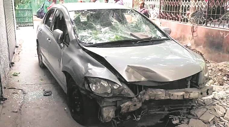 delhi accident, delhi news, accident, scooter accident, car hits scooter, indian express news