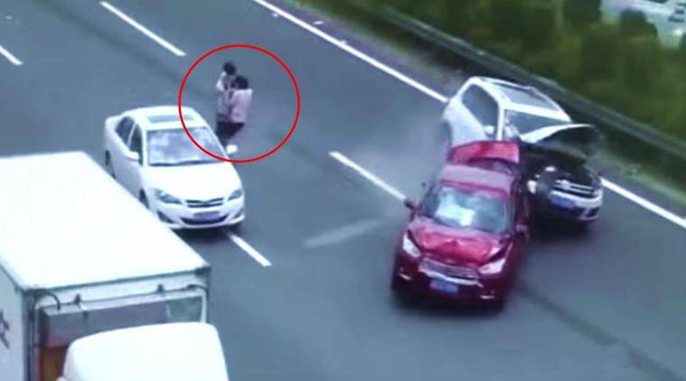 VIDEO: CCTV footage shows how family narrowly missed crash with rash ...